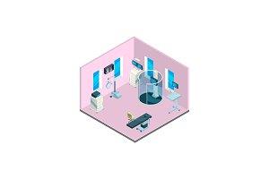 Vector isometric hospital interior