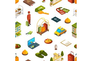 Vector isometric hotel icons pattern