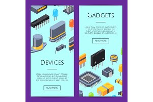 Electronics Cards. Vector microchips