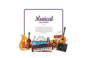 Vector cartoon musical instruments