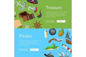 Vector cartoon sea pirates banner