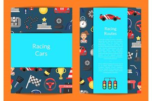Vector flat car racing icons card on