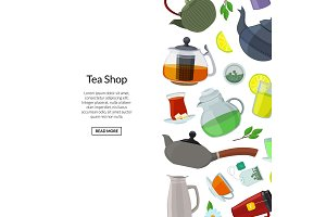Vector tea kettles and cups