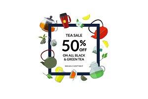 Tea drinking frame. Vector cartoon