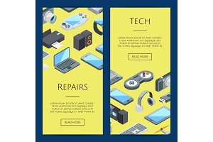 Gadgets banners. Vector isometric