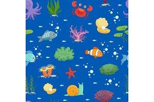 Vector cartoon underwater creatures