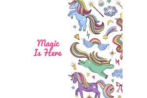 Unicorn pattern. Vector magic
