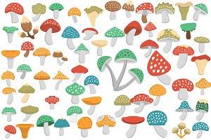 60 Mushroom Flat Icons