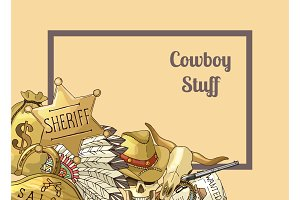 Sheriff text frame. Vector hand