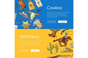 Vector wild west cowboy web banners