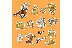 Vector hand drawn wild west cowboy