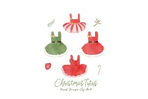 Christmas Tutu Ballerina Clip Art