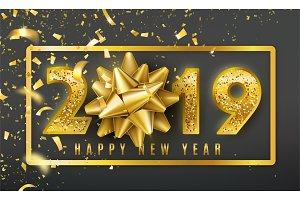 2019 Happy New Year vector