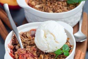 Plum crumble pie or plum crisp with