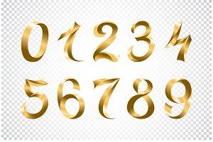 set of festive gold ribbon number