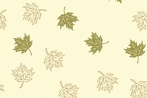 Autumn seamless pattern with green a