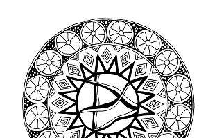 Decorative hand drawn mandala with d