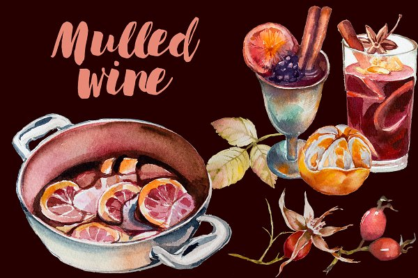 Watercolor Mulled Wine Clipart Set