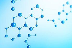 Blue molecules or atom on blue backg