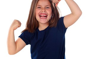 Funny child showing her muscles