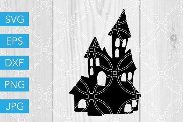 Haunted House Halloween Svg File Pre Designed Vector Graphics Creative Market