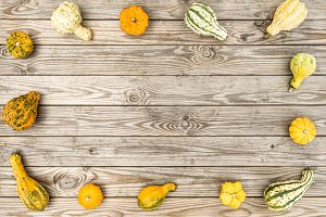 Pumpkin wooden background Autumn