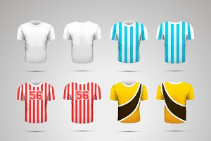 Set of realistic sport t-shirts