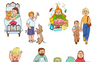 Parents with children cartoon icons