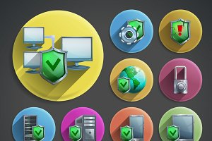 Data protection cartoon icons set