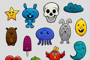 Graffiti cartoon characters icon set