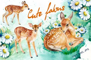 20% OFF! Cute Fawns. Watercolor