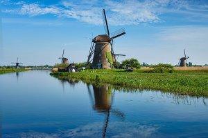 Windmills at Kinderdijk in Holland