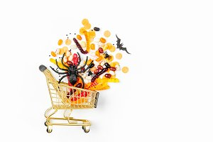 Halloween treats in a shopping cart