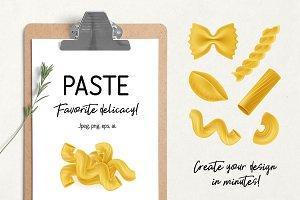 Collection of italian pasta