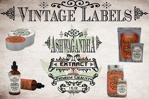 Ashwagandha Vintage Herb Labels