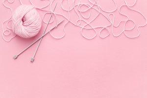 Pink yarn & ornate thread border