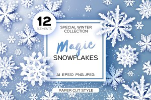 12 MAGIC SNOWFLAKES. Paper cut style
