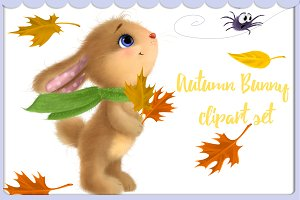 Cute Autumn Bunny clipart set