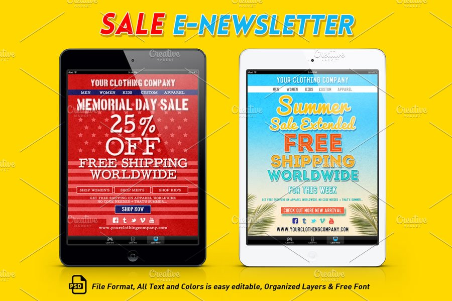 sale e newsletter template email templates creative market