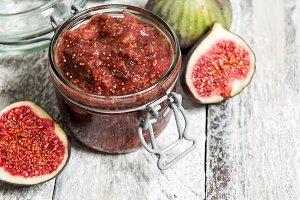 Figs marmalade in jar Fruit jam