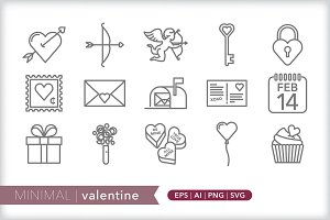 Minimal valentine icons