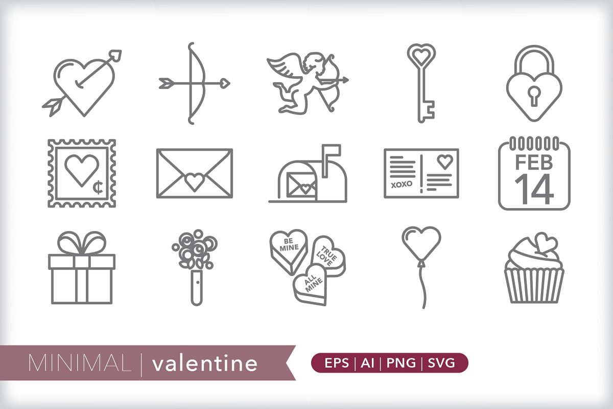 Minimal valentine icons in Holiday Icons