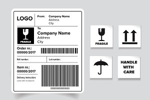 Shipping barcode label set