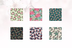6 Rose and Floral Seamless Pattern
