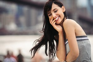 Beautiful woman with perfect smile