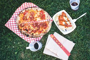 Picnic with street food pizza