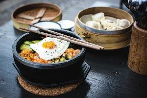 Korean bibimbap and dim sum