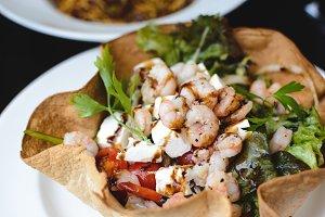 Vegetable salad with shrimps