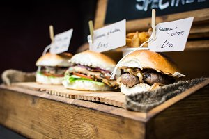 Street food sandwiches with sausages