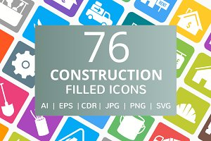76 Construction Filled Icons